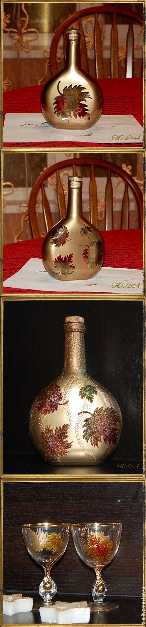 Декорируем стеклянную бутылку