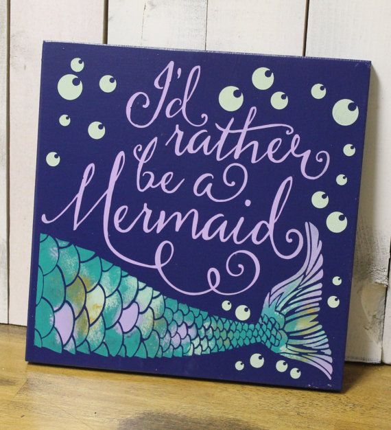 Iu0027d Rather Be A Mermaid/bathroom Sign/Pool Sign/Ocean Sign/Navy Blue/Wood  Sign/Mermaid/Girls Room/Mermaid Decor