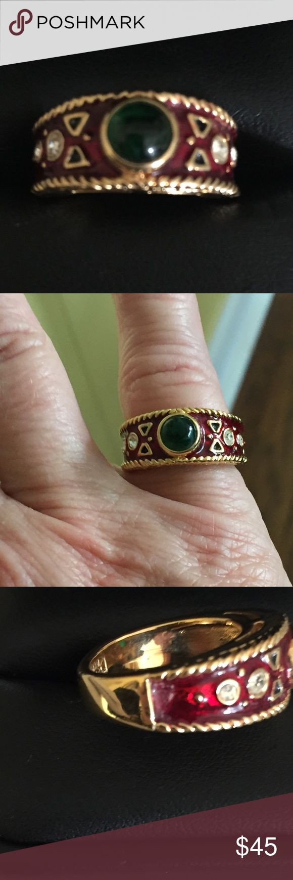 Joan Rivers Red Enameled Jade Ring Sz 6.5 Beautiful ring as pictured with red enamel rhinestones and faux jade. I am uncertain as to exact age. As pictured like new condition. Maker mark stamped in ring. Please if making offers keep in mind I pay seller fees have travel and shipping expenses and also purchase price for resale.  I try to price reasonably and offer bundle discount. Joan Rivers Jewelry Rings