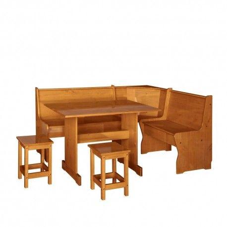 Estupenda rinconera fabricada en madera de pino, color miel. www.elabuelocarpintero.com