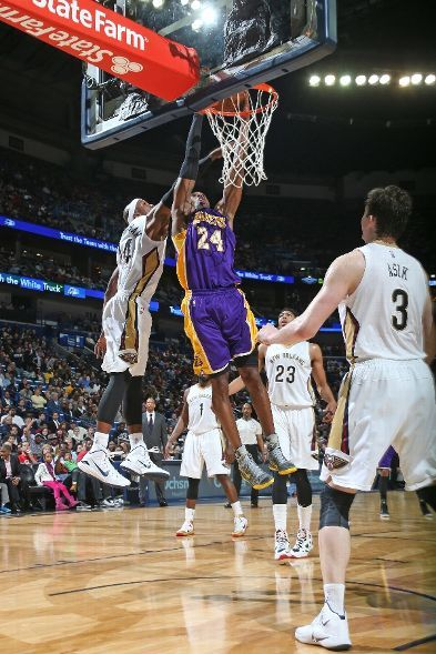 The play wherein the injury occurred: Bryant suffered a right shoulder rotator cuff tear in the third (4:14 left in the quarter) after converting on a two-handed dunk.  He could be out for the year with this latest injury. (January 21, 2015 | Los Angeles Lakers @ New Orleans Pelicans | The Smoothie King Center in New Orleans, Louisiana)
