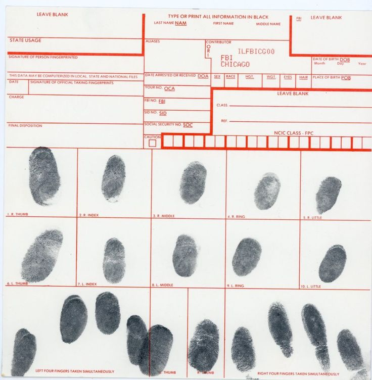 Fingerprint FBI Chicago Imprinted but no personal info. for collage / assemblage
