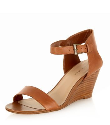 Tan Leather Ankle Strap Wedges