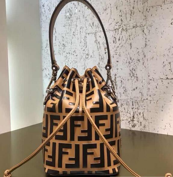 9953b799d5 2018 Fendi Mon Tresor Leather Bucket Mini Bag FF Logo Brown