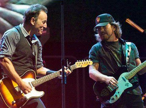 Bruce Springsteen and Eddie Vedder | Eddie Vedder  Tom Morello joined Bruce Springsteen again @ Wrigley ...