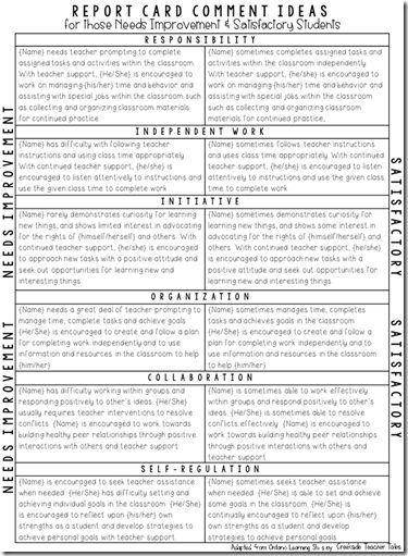 Report card comment ideas: Creekside Teacher Tales: