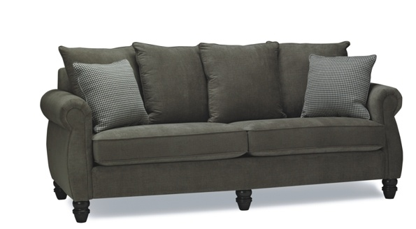 Beautiful BC made sofa!  We love the addition of a centre turned leg.