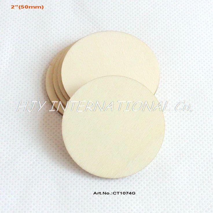 "(80pcs/lot) 2""Blank cutout circle round large wood disks crafts paint decor wooden disc DIY-CT1074G"