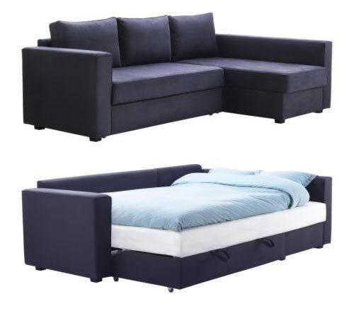 MANSTAD packs a lot of punch — it's a (1) small scale sectional sofa that's also a (2) bed and (3) storage. While there are options for sectionals with built in beds, few are this small, this inexpensive and few are designed to take advantage of the full footprint.