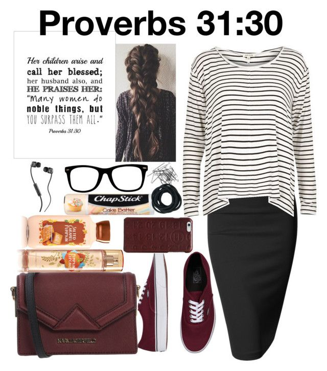 """Proverbs 31:30"" by grace-food-lover ❤ liked on Polyvore featuring Doublju, River Island, Vans, Karl Lagerfeld, Chapstick, Maison Margiela, H&M and Skullcandy"