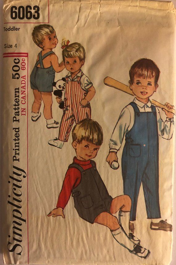 5505b57c2c1 VTG 6063 Simplicity (1965). Toddler s Overalls and Shirt. Size 4 ...