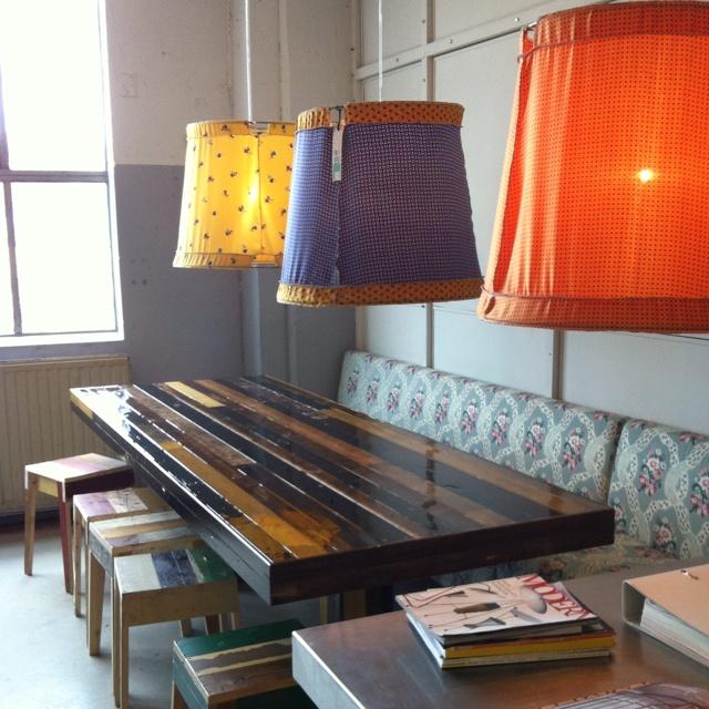 Piet Hein Eek - canteentable - stools - tie silk lamps / NK Inredning