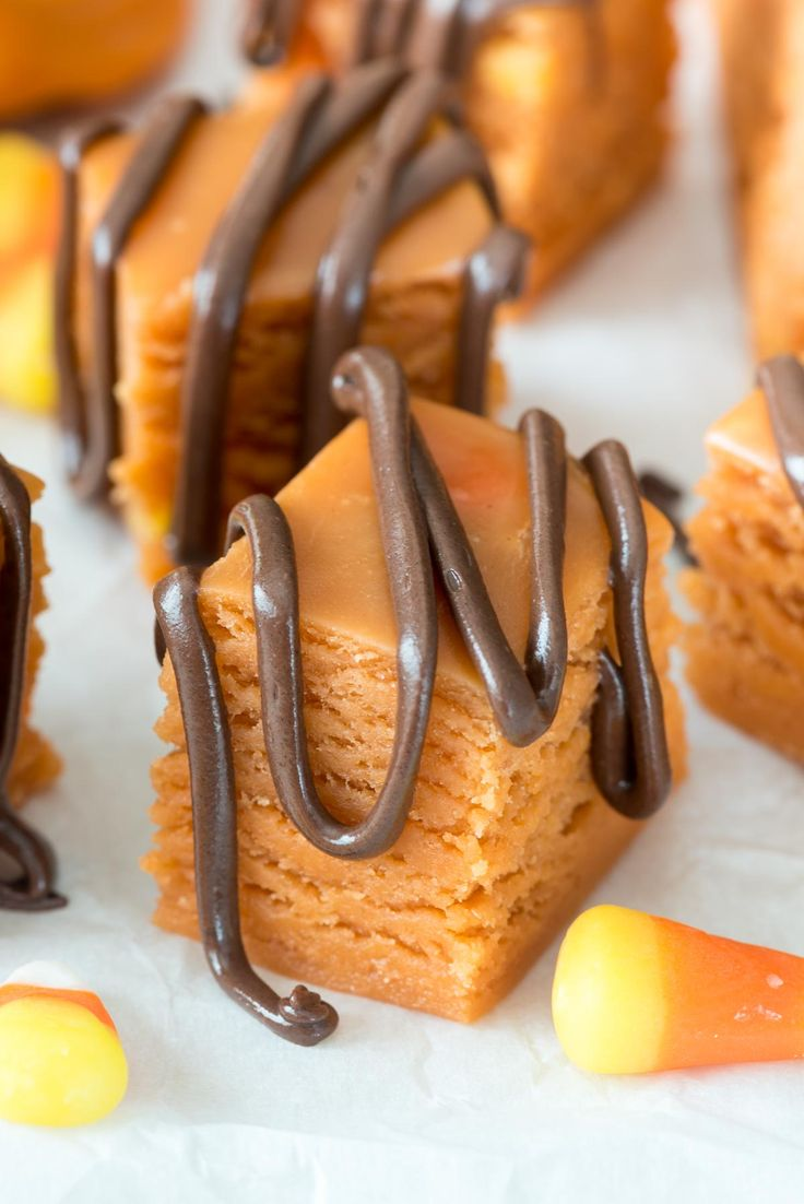 This easy 3-ingredient Butterfinger Fudge tastes just like the candy bar and it's made with candy corn!