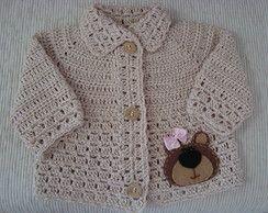 Casaco crochê de linha ursinha