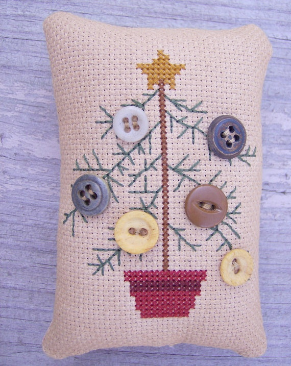 Completed Cross Stitch Primitive Pinkeep Feather by Stitchcrafts, $15.00