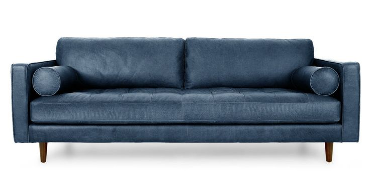 Top Grain Leather Sofa Mid-Century Modern Tuxedo Retro Indigo Navy Blue $3500 #na #Modern