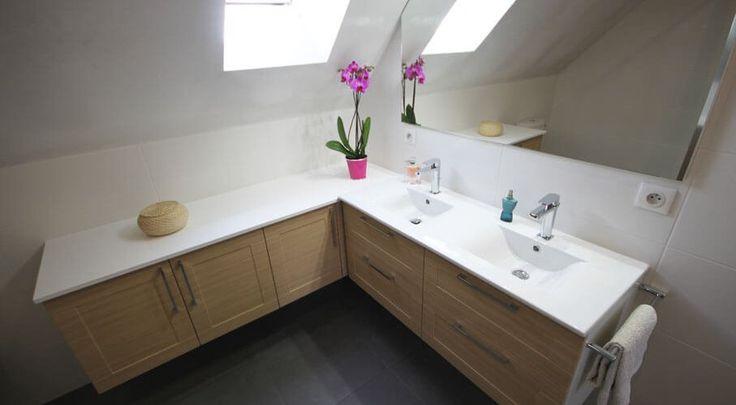 meuble double vasque sous rampant un maximum de rangement pour une salle de bain sur mesure. Black Bedroom Furniture Sets. Home Design Ideas