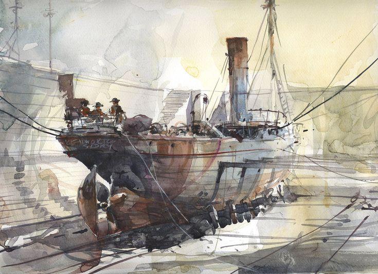 "Steam ship ""Merksworth"" undergoing repairs in Fitzroy Dry dock, Sidney"