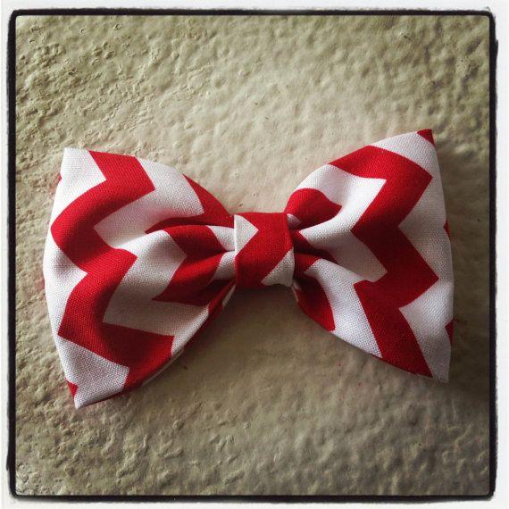 Chevron Zigzag Red print handmade fabric bow by Bowliciousdivas, $4.00