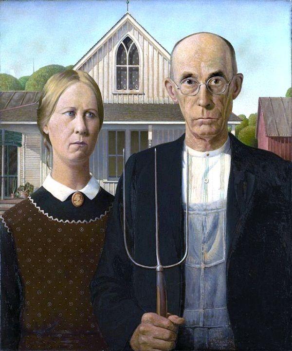 """Грант Вуд """"Американская готика"""" 1930,"""