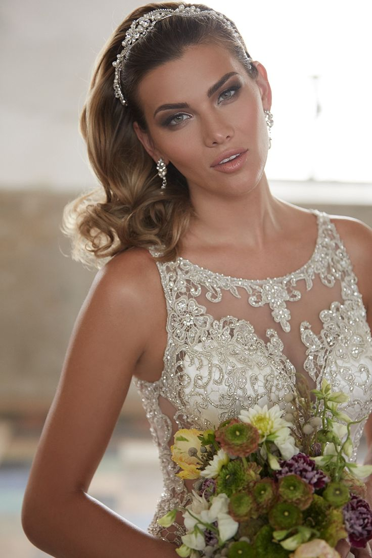 Hot Sale Illusion Dropped Floor Length Satin Ivory Sleeveless Wedding Dress with Beading LWXF15012  #weddingdress #landybridal