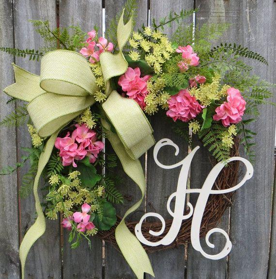 Spring Monogram Wreath Summer Spring Wreath by HornsHandmade