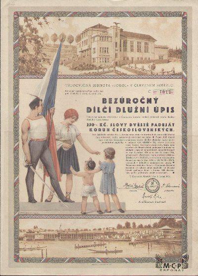 """Muzeum cennych papiru A1529 Tělocvičná jednota """"Sokol"""" v Červeném Kostelci 1937"""
