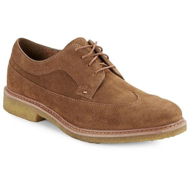 Black Brown 1826 Henry Wingtip Suede Oxford Shoes ($54) ❤ liked on Polyvore featuring men's fashion, men's shoes, nutmeg, men's wingtip oxford shoes, mens suede oxford shoes, mens round toe shoes, mens oxford shoes and mens wingtip shoes