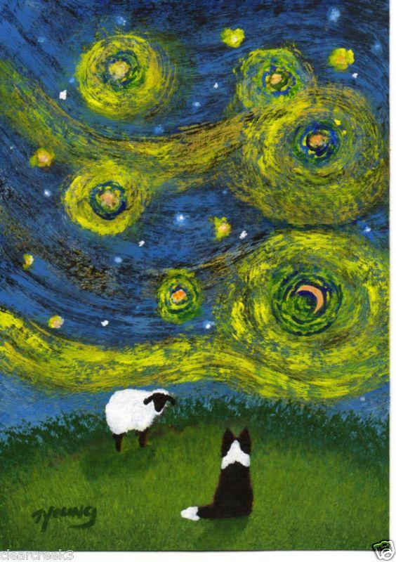 Border Collie Dog Van Gogh folk Art PRINT Todd Young painting STAR FILLED NIGHT #OutsiderArt