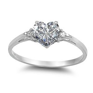 Sterling Silver 0.81ct Elegant Heart-cut Russian Ice on Fire Diamond CZ Promise