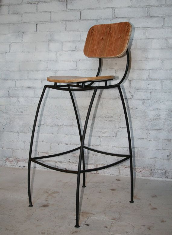 Bar Stool with Back - Contemporary Industrial Steel \u0026 Oak Wood Contoured Ergonomic Commercial Bar Stool & 31 best Our Handmade Barstools images on Pinterest | Counter ... islam-shia.org