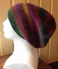 Slouchy Beanie Chunky Striped Hand Knit Hat, Unisex