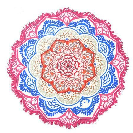 Large 150-CM Elegant Vibrant Paisley Print Tassel-Trim Round Beach Scarf 7 Colors