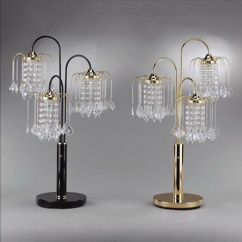 Three tier crystal rain drop table lamp in black or gold