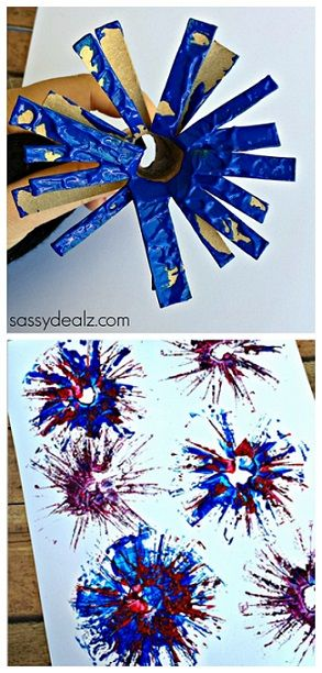 Toilet Paper Roll Fireworks Craft for Kids | http://www.sassydealz.com/2014/05/toilet-paper-roll-firework-stamp-craft-kids.html