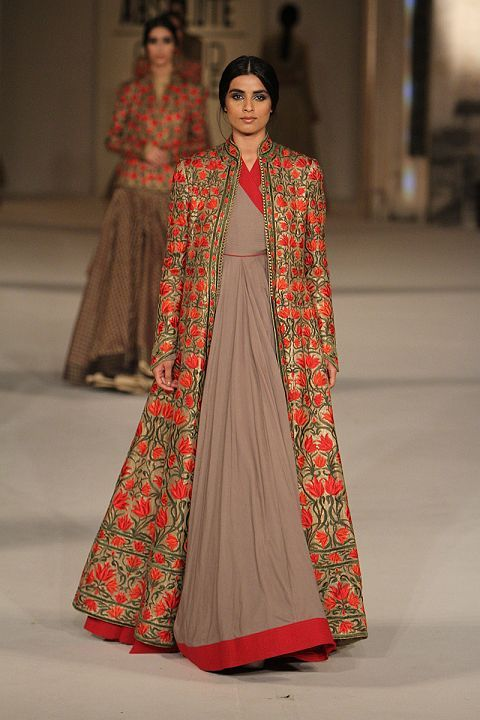 LFWSR16 Rohit Bal- mauve red gold long anarkali suit with long jacket sherwani