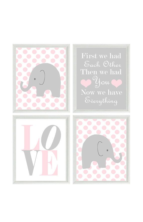 Nursery Art - Elephant Polka Dots Baby Girl Nursery Prints, Gray Pink Wall Art  Love -  First We Had You - Nursery Decor Quote - 4 8x10