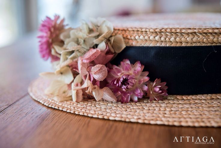 Canotier con flores vintage