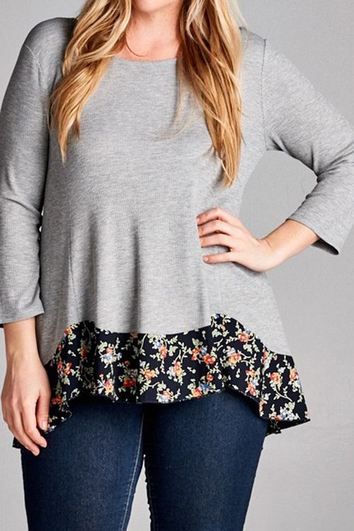 SOLID THERMAL KNIT SWING TOP WITH FLORAL PRINT HEM PLUS