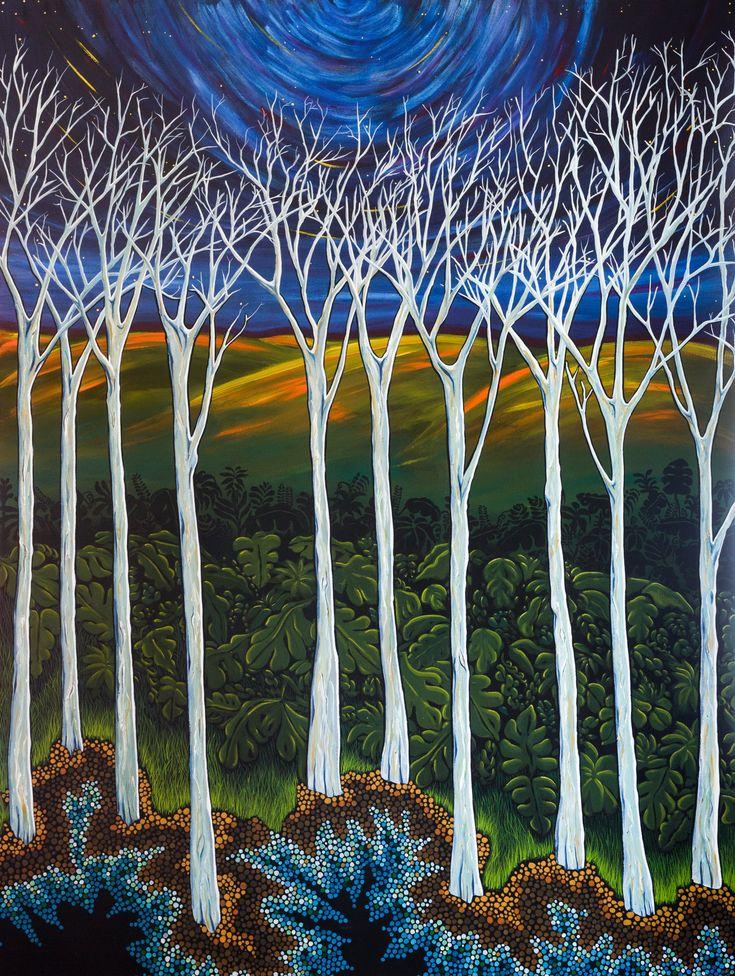 Landscape painting, art, acrylic paintings, trees, stippling, Australian artists
