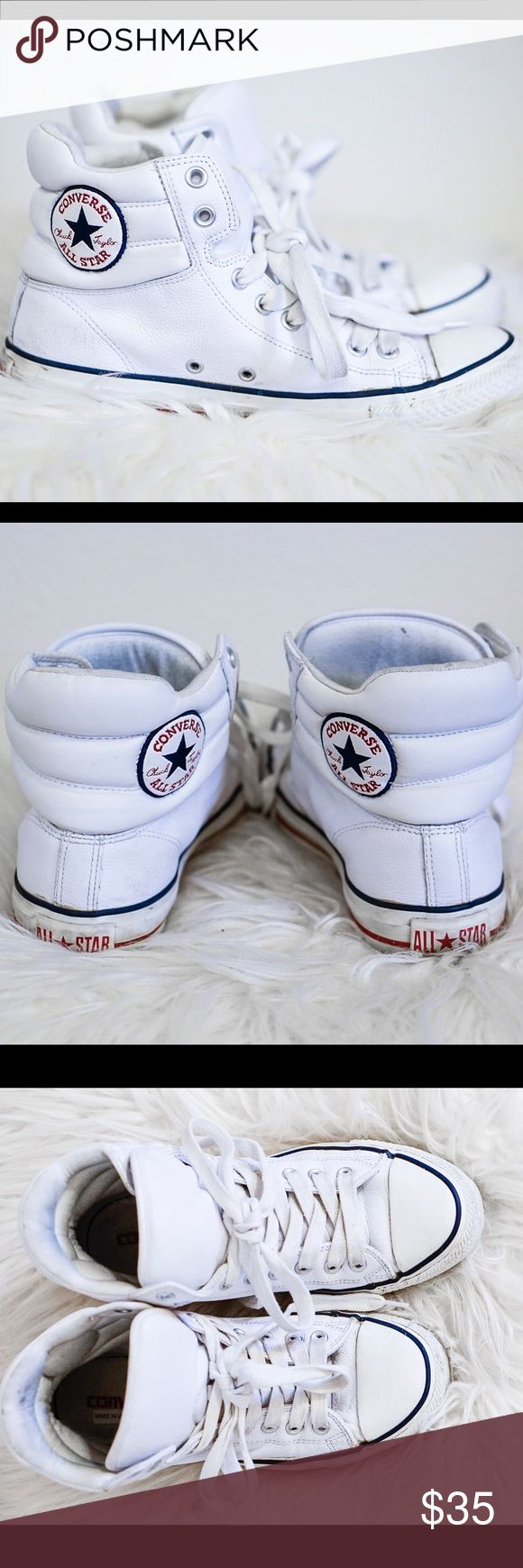 Chuck Taylor All Star Leather Converse High Top white leather converse Converse Shoes Sneakers