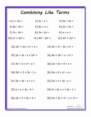 Printables Basic Pre Algebra Worksheets 1000 ideas about algebra worksheets on pinterest introduce your middle school student to some basic concepts hell work with
