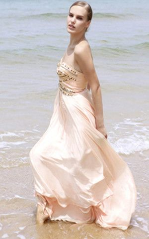 Abito Da Ballo/ Abito da sera con Piega Naturale con Perline sexy