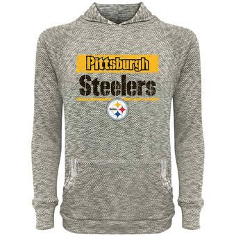 Men's Pittsburgh Steelers Majestic Gray Pastime Tri-Yarn Lightweight Pullover Hoodie