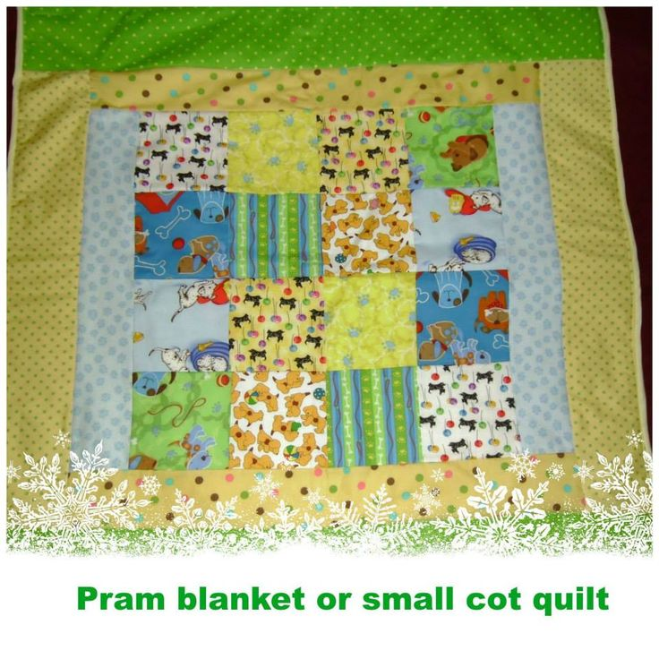 Handmade by Aunty Bea's Designs Puppy Dogs pram or small cot quilt