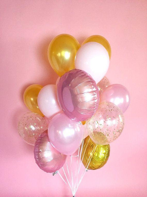Pink Gold Big Balloon Bouquet Confetti by LolasConfettiShop - gorgeous colours!