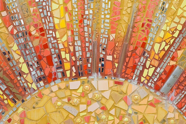 """sunrise: detail from """"Living 2007"""", a mural at Bryn Mawr and Lakeshore Drive, Edgewater, Chicago.  From Jeremy Atherton."""