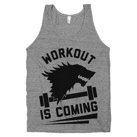 Workout is Coming  Mens Nerd WorkoutGame by stridefitnessapparel, $22.00 #gameofthrones #workouttanktop #winteriscoming