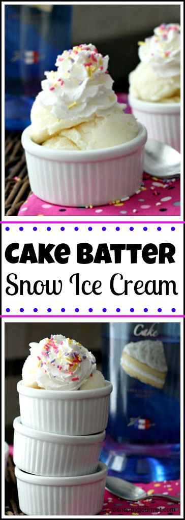 Easy Cake Batter Snow Ice Cream recipe - How to make homemade snow ice cream | snappygourmet.com (Easy Icecream Cake)