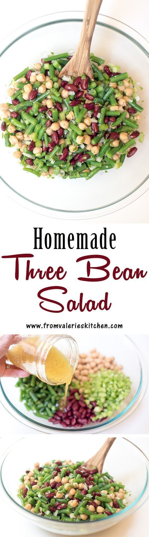 This fresh Homemade Three Bean Salad is so much tastier than the store bought variety. The dressing gives it a sweet, vinegary bite that is irresistibly good. ~ http://www.fromvalerieskitchen.com (Mix Vegetables Meal Prep)